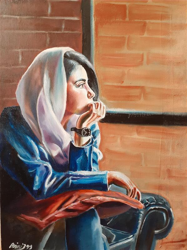 هنر نقاشی و گرافیک نقاشی پنجره حسن زمانی رنگ روغن روی بوم ۵۰در۷۰ اورجینال