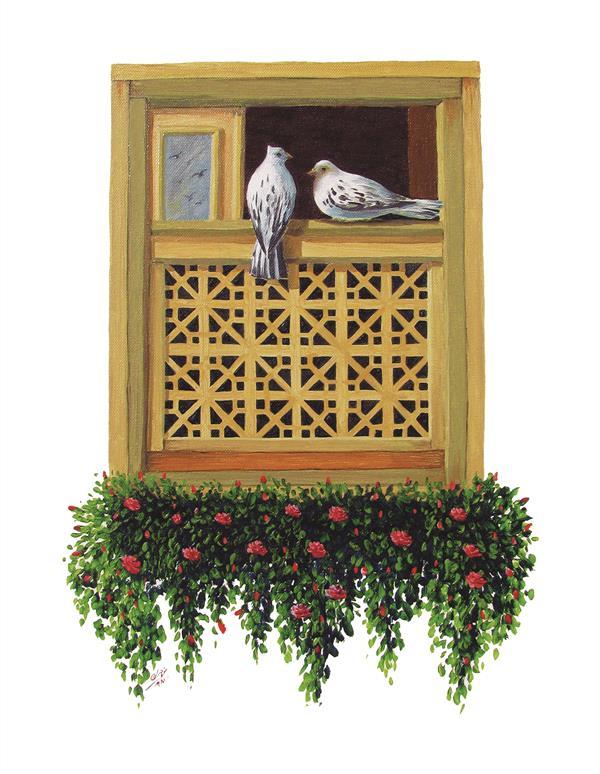 هنر نقاشی و گرافیک نقاشی پنجره محمد منوچهری پنجره ( رنگ روغن روی بوم ) _ 40 در 60 _ محمد منوچهری