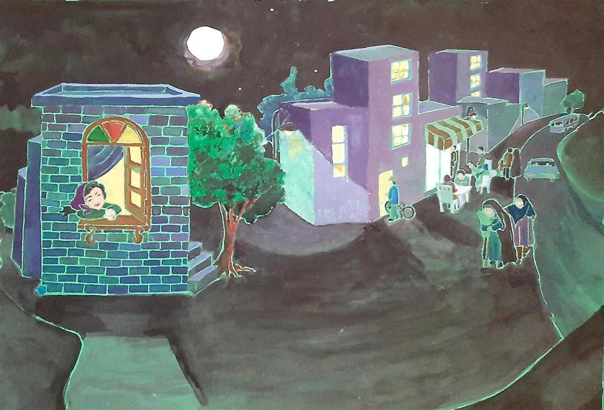 هنر نقاشی و گرافیک نقاشی پنجره  Leila Feizi #آبرنگ #پاستل