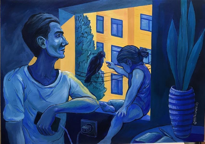 هنر نقاشی و گرافیک نقاشی پنجره علیرضا جباری #اکریلیک روی بوم ابعاد : ۷۰*۵۰ از مجموعه تابستان سرد