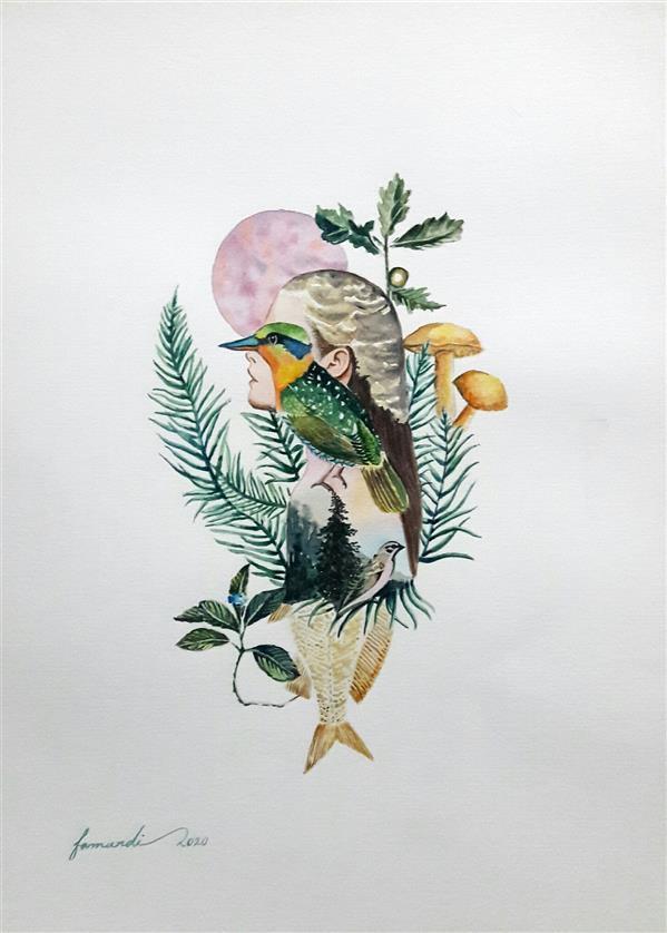 هنر نقاشی و گرافیک نقاشی پنجره Fatemeh_Farmandi فاطمه فرمندی  اثر آبرنگ  ابعاد: 30×40 عنوان :ذهن سبز