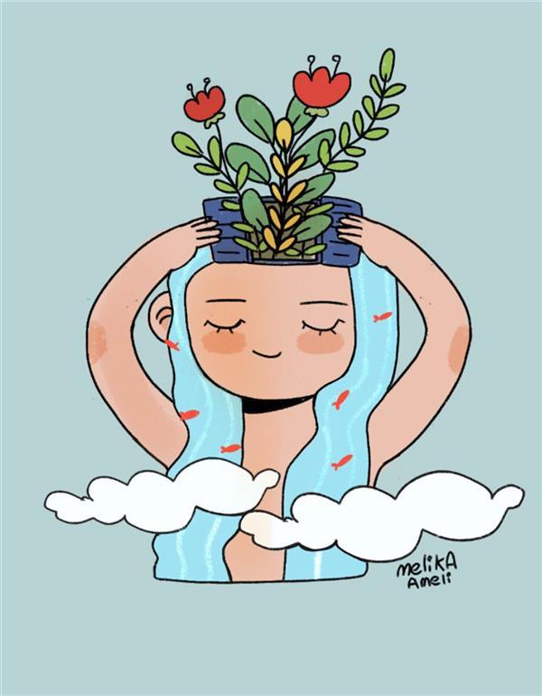 هنر نقاشی و گرافیک نقاشی پنجره ملیکا عاملی باز کن پنجره را  و بهاران را باور کن  نقاشی دیجیتال در گوشی