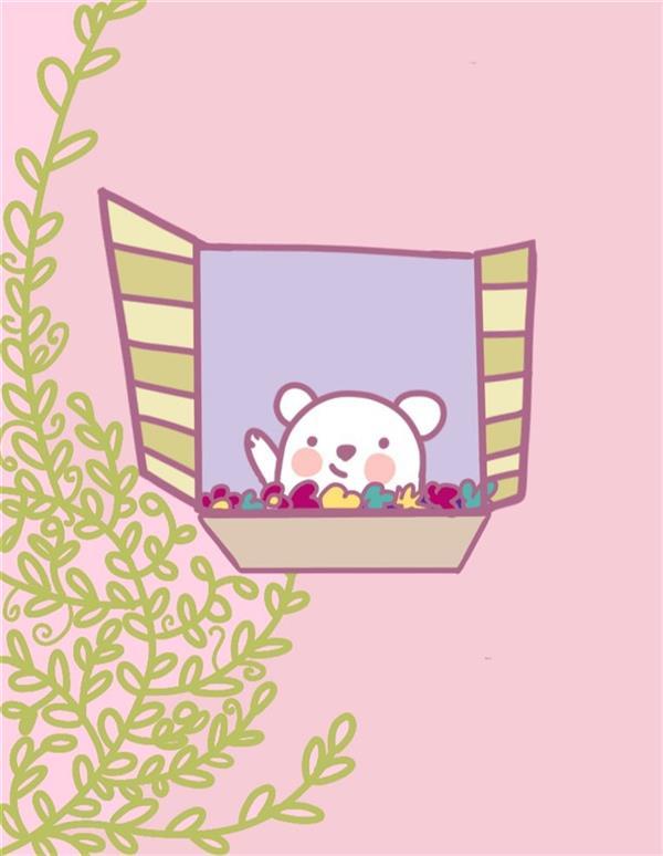 هنر نقاشی و گرافیک نقاشی پنجره ماندانا عاملی نقاشی دیجیتال  خرس کوچولو به بهار سلام میکند