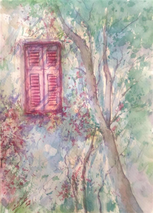 هنر نقاشی و گرافیک نقاشی پنجره ab-derakhshan #آبرنگ ۲۵*۳۵ #بوی بهار #پنجره ی را باز کن