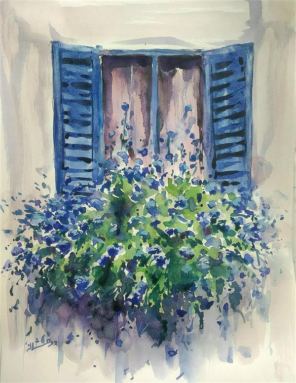 هنر نقاشی و گرافیک نقاشی پنجره ab-derakhshan #آبرنگ ۲۵*۳۵ #باز کن پنجره را