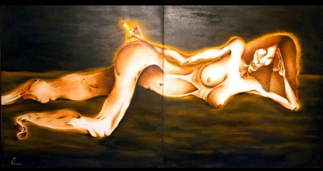 هنر نقاشی و گرافیک محفل نقاشی و گرافیک seyed mehdi kamyab sharifi name : magic woman. size : 100x200 cm. oil on canvas. from artology collection. #surreal #painting